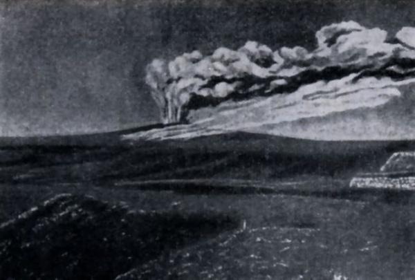 извержение кратера сопки Джау-тепе